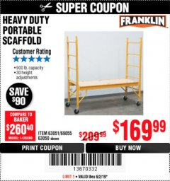 Harbor Freight Coupon HEAVY DUTY PORTABLE SCAFFOLD Lot No. 63050/63051/69055/98979 Expired: 6/2/19 - $169.99