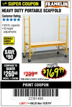 Harbor Freight Coupon HEAVY DUTY PORTABLE SCAFFOLD Lot No. 63050/63051/69055/98979 Expired: 12/8/19 - $169.99