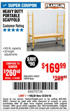 Harbor Freight Coupon HEAVY DUTY PORTABLE SCAFFOLD Lot No. 63050/63051/69055/98979 Expired: 12/24/19 - $169.99