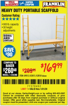 Harbor Freight Coupon HEAVY DUTY PORTABLE SCAFFOLD Lot No. 63050/63051/69055/98979 Valid Thru: 1/31/20 - $169.99