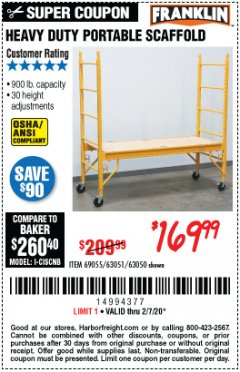 Harbor Freight Coupon HEAVY DUTY PORTABLE SCAFFOLD Lot No. 63050/63051/69055/98979 Valid Thru: 2/7/20 - $169.99