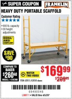 Harbor Freight Coupon HEAVY DUTY PORTABLE SCAFFOLD Lot No. 63050/63051/69055/98979 EXPIRES: 6/30/20 - $169