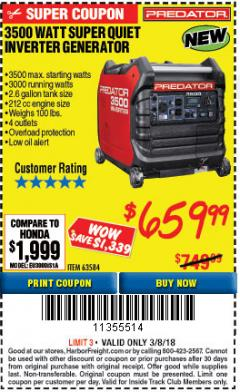 Harbor Freight ITC Coupon 3500 WATT SUPER QUIET INVERTER GENERATOR Lot No. 56720, 63584 Expired: 3/8/18 - $659.99