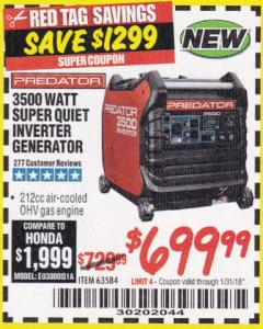 Harbor Freight Coupon 3500 WATT SUPER QUIET INVERTER GENERATOR Lot No. 56720, 63584 Expired: 1/31/18 - $699.99