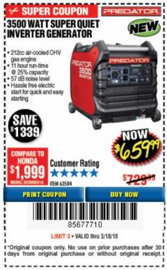 Harbor Freight Coupon 3500 WATT SUPER QUIET INVERTER GENERATOR Lot No. 56720, 63584 Expired: 3/18/18 - $659.99