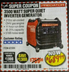 Harbor Freight Coupon 3500 WATT SUPER QUIET INVERTER GENERATOR Lot No. 56720, 63584 Expired: 10/31/18 - $689.99