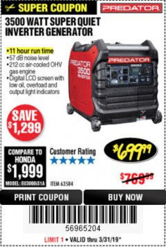 Harbor Freight Coupon 3500 WATT SUPER QUIET INVERTER GENERATOR Lot No. 56720, 63584 Expired: 3/31/19 - $699.99