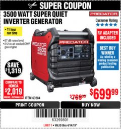 Harbor Freight Coupon 3500 WATT SUPER QUIET INVERTER GENERATOR Lot No. 56720, 63584 Expired: 4/14/19 - $699.99
