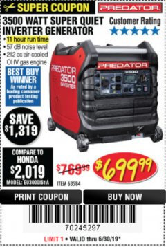 Harbor Freight Coupon 3500 WATT SUPER QUIET INVERTER GENERATOR Lot No. 56720, 63584 Expired: 6/30/19 - $699.99