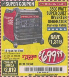 Harbor Freight Coupon 3500 WATT SUPER QUIET INVERTER GENERATOR Lot No. 56720, 63584 Valid Thru: 8/24/19 - $699.99