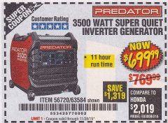 Harbor Freight Coupon 3500 WATT SUPER QUIET INVERTER GENERATOR Lot No. 56720, 63584 Valid Thru: 11/28/19 - $699.99