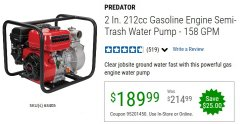"Harbor Freight Coupon PREDATOR 2"" SEMI-TRASH GASOLINE ENGINE WATER PUMP Lot No. 63405 Valid Thru: 6/30/20 - $189.99"