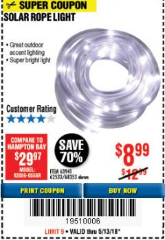 Harbor Freight Coupon SOLAR ROPE LIGHT Lot No. 68353/62533/63941/64625 Expired: 5/13/18 - $8.99