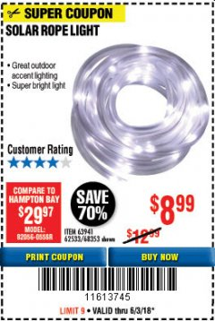 Harbor Freight Coupon SOLAR ROPE LIGHT Lot No. 68353/62533/63941/64625 Expired: 6/3/18 - $8.99