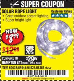Harbor Freight Coupon SOLAR ROPE LIGHT Lot No. 68353/62533/63941/64625 Expired: 11/10/18 - $8.99