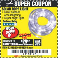 Harbor Freight Coupon SOLAR ROPE LIGHT Lot No. 68353/62533/63941/64625 Expired: 10/1/18 - $8.99