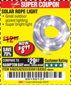 Harbor Freight Coupon SOLAR ROPE LIGHT Lot No. 68353/62533/63941/64625 Expired: 12/9/18 - $8.99