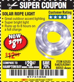 Harbor Freight Coupon SOLAR ROPE LIGHT Lot No. 68353/62533/63941/64625 Expired: 11/30/18 - $8.99