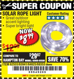 Harbor Freight Coupon SOLAR ROPE LIGHT Lot No. 68353/62533/63941/64625 Expired: 1/11/19 - $8.99