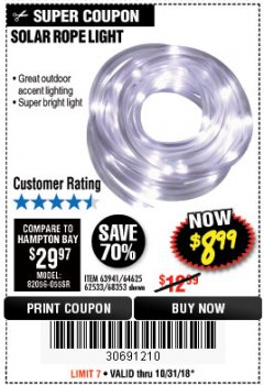 Harbor Freight Coupon SOLAR ROPE LIGHT Lot No. 68353/62533/63941/64625 Expired: 10/31/18 - $8.99