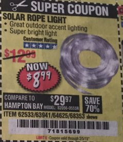 Harbor Freight Coupon SOLAR ROPE LIGHT Lot No. 68353/62533/63941/64625 Expired: 2/5/19 - $9.99