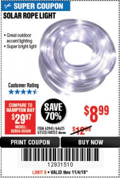 Harbor Freight Coupon SOLAR ROPE LIGHT Lot No. 68353/62533/63941/64625 Expired: 11/4/18 - $8.99