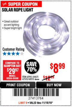 Harbor Freight Coupon SOLAR ROPE LIGHT Lot No. 68353/62533/63941/64625 Expired: 11/18/18 - $8.99