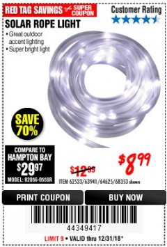 Harbor Freight Coupon SOLAR ROPE LIGHT Lot No. 68353/62533/63941/64625 Expired: 12/31/18 - $8.99