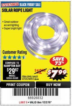 Harbor Freight Coupon SOLAR ROPE LIGHT Lot No. 68353/62533/63941/64625 Expired: 12/2/18 - $7.99