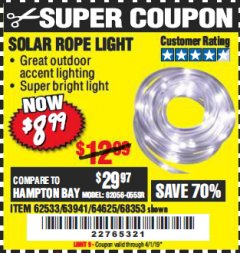 Harbor Freight Coupon SOLAR ROPE LIGHT Lot No. 68353/62533/63941/64625 Expired: 4/1/19 - $8.99