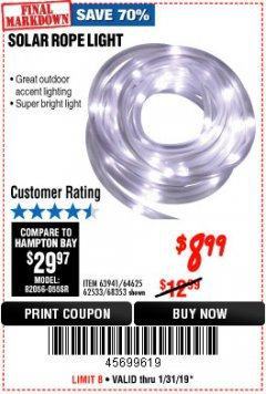 Harbor Freight Coupon SOLAR ROPE LIGHT Lot No. 68353/62533/63941/64625 Expired: 1/31/19 - $8.99