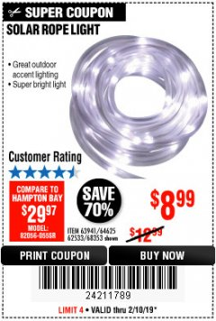 Harbor Freight Coupon SOLAR ROPE LIGHT Lot No. 68353/62533/63941/64625 Expired: 2/10/19 - $8.99