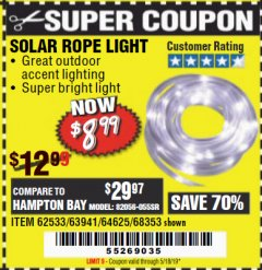 Harbor Freight Coupon SOLAR ROPE LIGHT Lot No. 68353/62533/63941/64625 Expired: 5/18/19 - $8.99