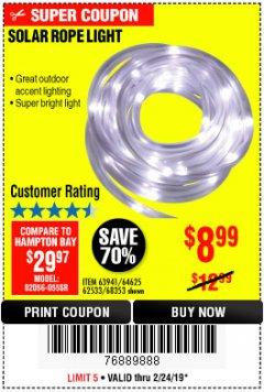 Harbor Freight Coupon SOLAR ROPE LIGHT Lot No. 68353/62533/63941/64625 Expired: 2/24/19 - $8.99