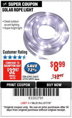 Harbor Freight Coupon SOLAR ROPE LIGHT Lot No. 68353/62533/63941/64625 Expired: 3/17/19 - $8.99