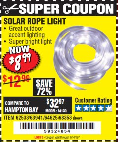 Harbor Freight Coupon SOLAR ROPE LIGHT Lot No. 68353/62533/63941/64625 Expired: 7/14/19 - $8.99