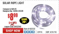Harbor Freight Coupon SOLAR ROPE LIGHT Lot No. 68353/62533/63941/64625 Expired: 3/31/19 - $8.99