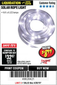Harbor Freight Coupon SOLAR ROPE LIGHT Lot No. 68353/62533/63941/64625 Expired: 4/30/19 - $8.99