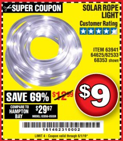 Harbor Freight Coupon SOLAR ROPE LIGHT Lot No. 68353/62533/63941/64625 Expired: 6/1/19 - $9