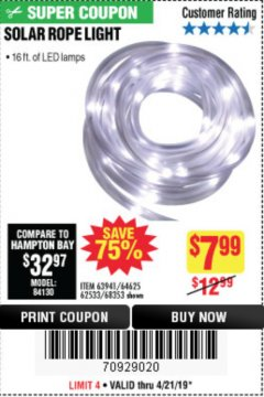 Harbor Freight Coupon SOLAR ROPE LIGHT Lot No. 68353/62533/63941/64625 Expired: 4/21/19 - $7.99