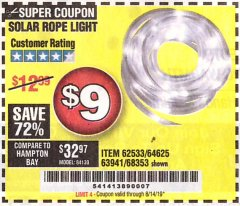 Harbor Freight Coupon SOLAR ROPE LIGHT Lot No. 68353/62533/63941/64625 Expired: 8/14/19 - $9