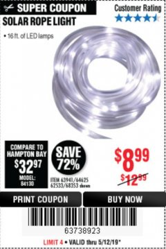 Harbor Freight Coupon SOLAR ROPE LIGHT Lot No. 68353/62533/63941/64625 Expired: 5/12/19 - $8.99