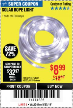 Harbor Freight Coupon SOLAR ROPE LIGHT Lot No. 68353/62533/63941/64625 Expired: 5/27/19 - $8.99