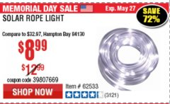 Harbor Freight Coupon SOLAR ROPE LIGHT Lot No. 68353/62533/63941/64625 Expired: 5/31/19 - $8.99