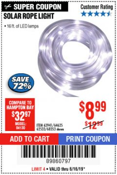Harbor Freight Coupon SOLAR ROPE LIGHT Lot No. 68353/62533/63941/64625 Expired: 6/16/19 - $8.99