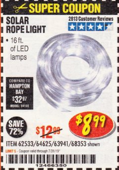 Harbor Freight Coupon SOLAR ROPE LIGHT Lot No. 68353/62533/63941/64625 Expired: 7/31/19 - $8.99