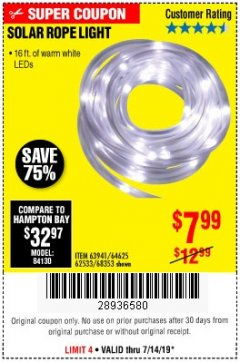 Harbor Freight Coupon SOLAR ROPE LIGHT Lot No. 68353/62533/63941/64625 Expired: 7/14/19 - $7.99