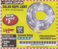 Harbor Freight Coupon SOLAR ROPE LIGHT Lot No. 68353/62533/63941/64625 Valid Thru: 10/30/19 - $8.99