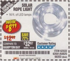 Harbor Freight Coupon SOLAR ROPE LIGHT Lot No. 68353/62533/63941/64625 Valid Thru: 11/28/19 - $8.99