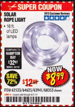 Harbor Freight Coupon SOLAR ROPE LIGHT Lot No. 68353/62533/63941/64625 Valid Thru: 8/31/19 - $8.99
